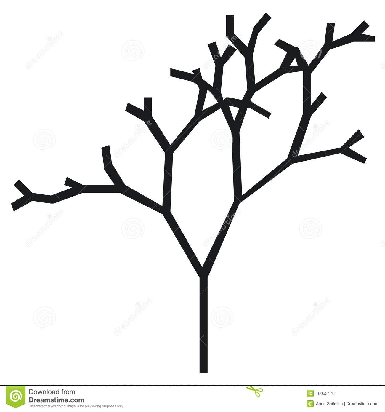 The Silhouette Of A Tree With A Trunk And Branches Without Leaves