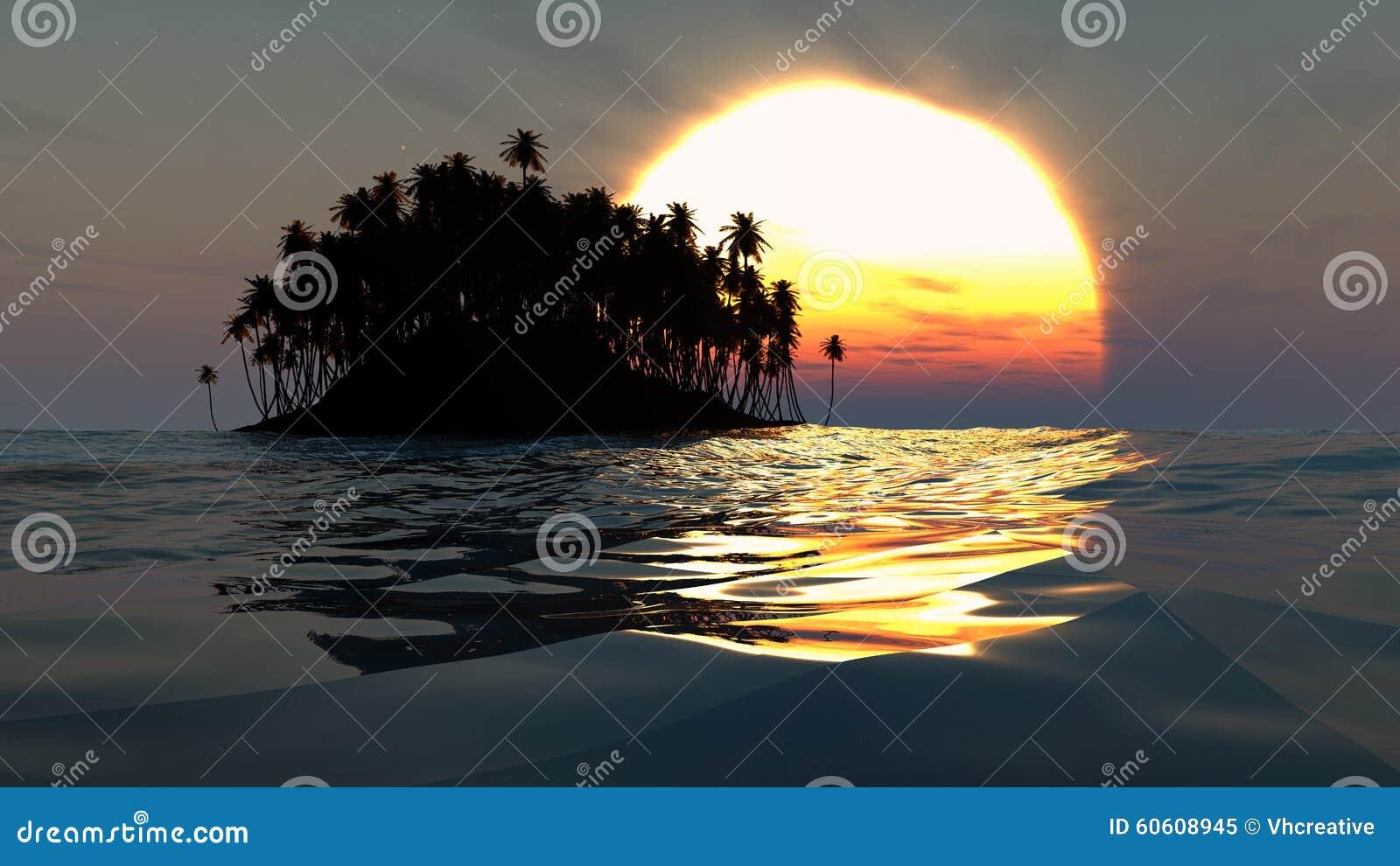 Silhouette tropicale d île au-dessus de coucher du soleil dans l océan ouvert