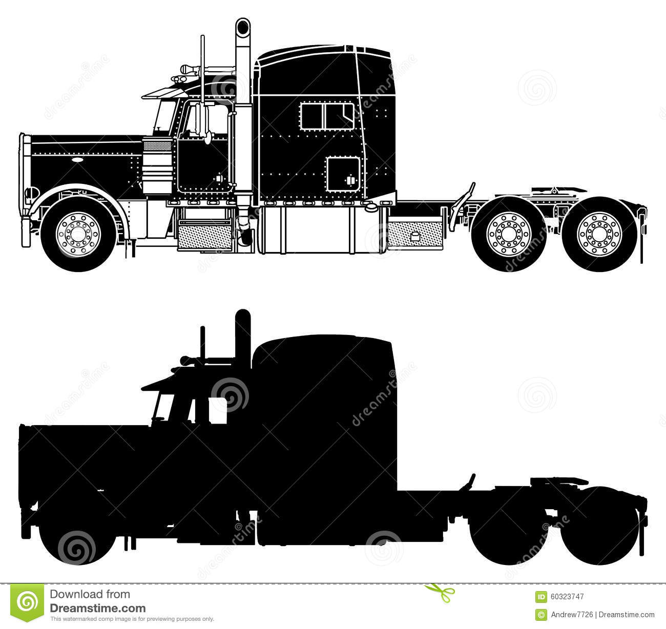 Silhouette Of A Truck Peterbilt 379x Stock Photo Image