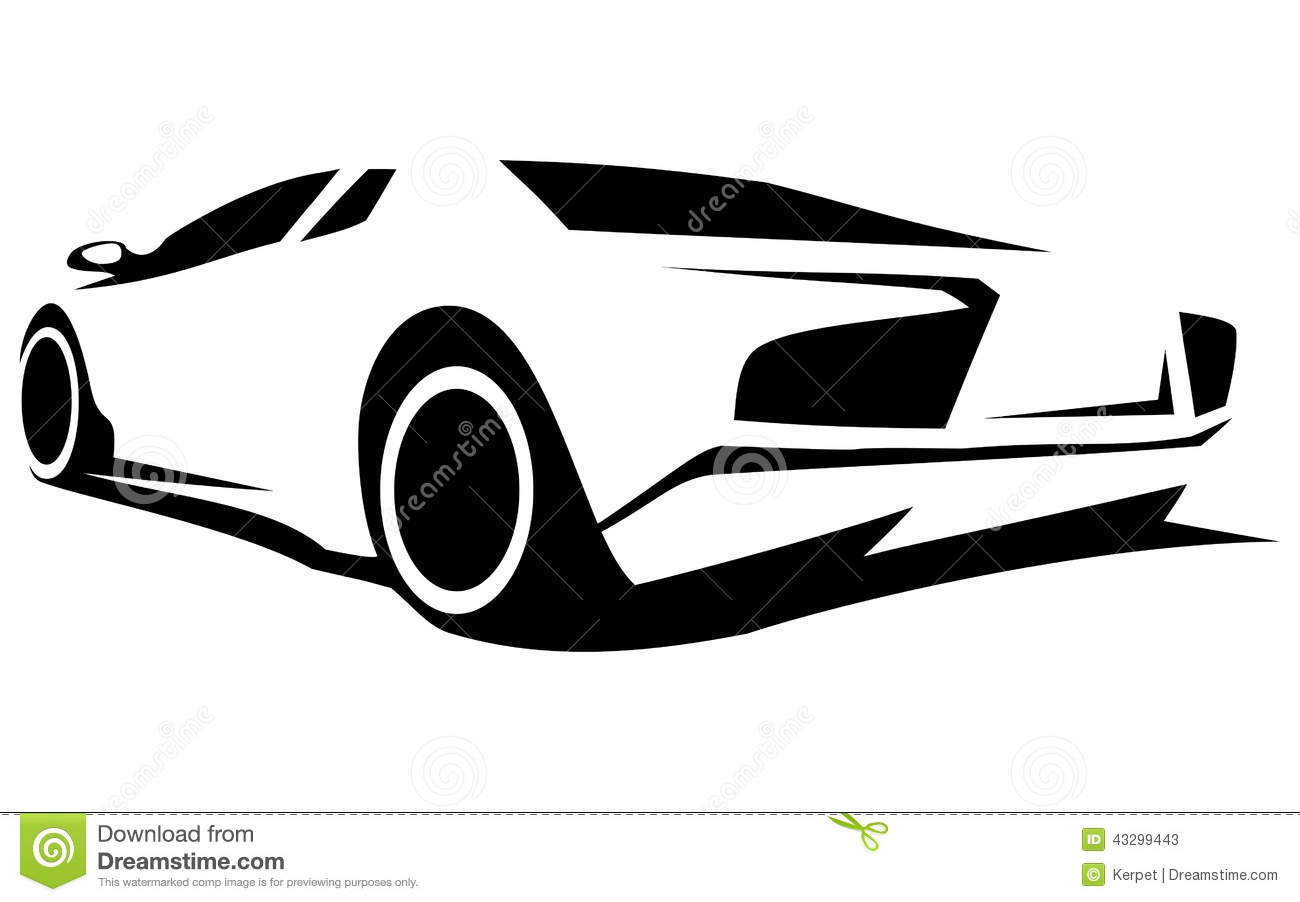 Silhouette Tuning Car Stock Vector Image 43299443