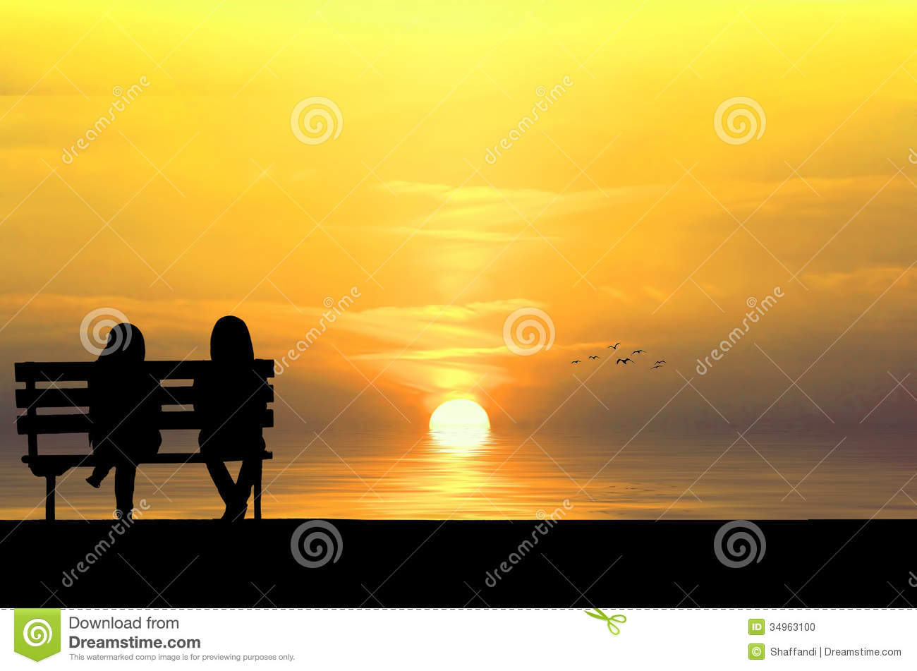Silhouette of two friends sitting on wood bench near beach