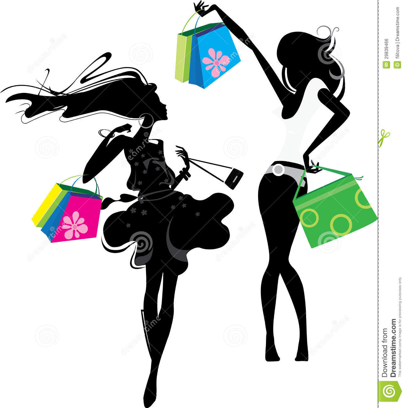 Silhouette Of A Girl With Bags Royalty Free Stock Image ...