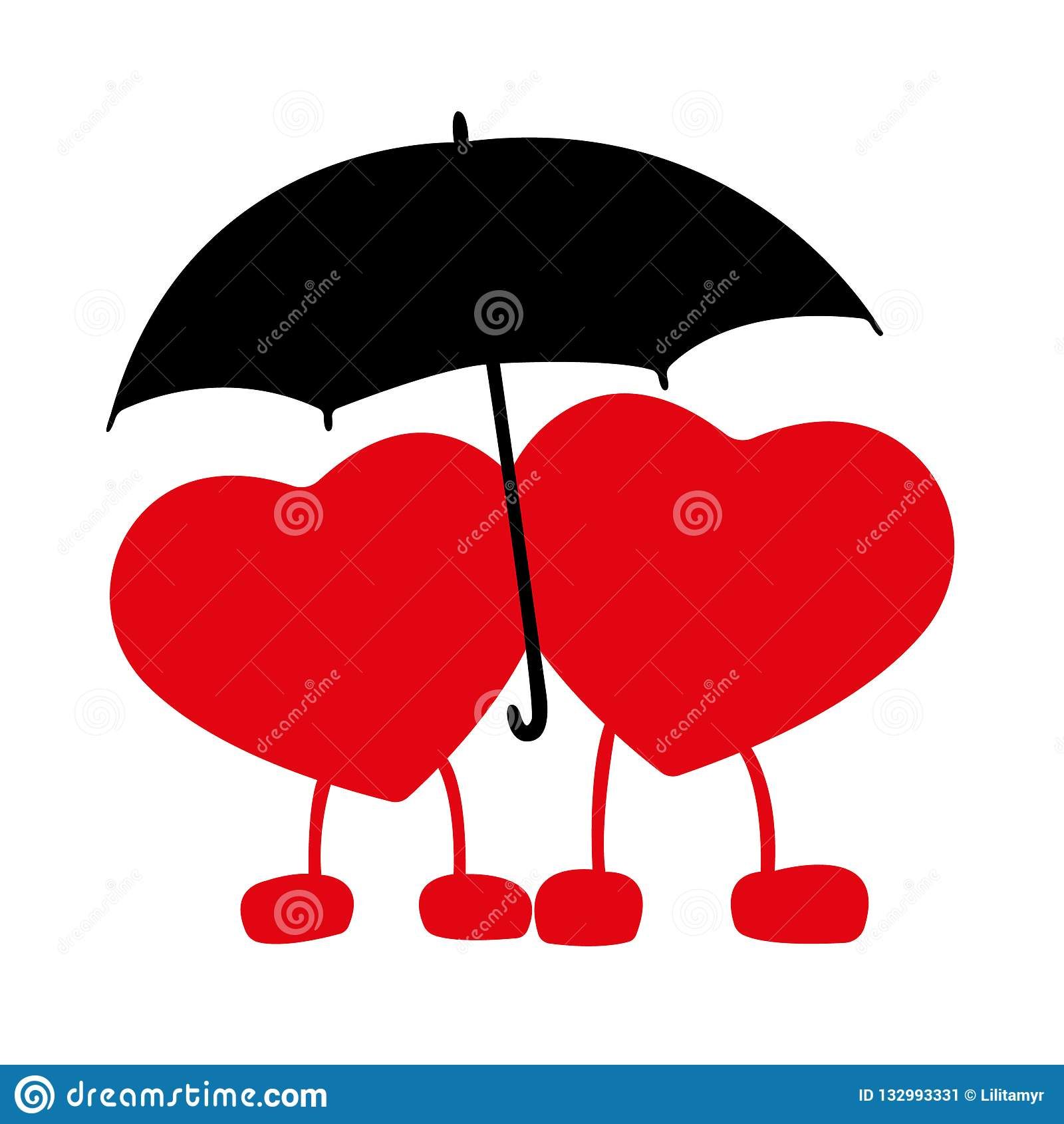 Silhouette Of Two Hearts In Love With An Umbrella Valentine