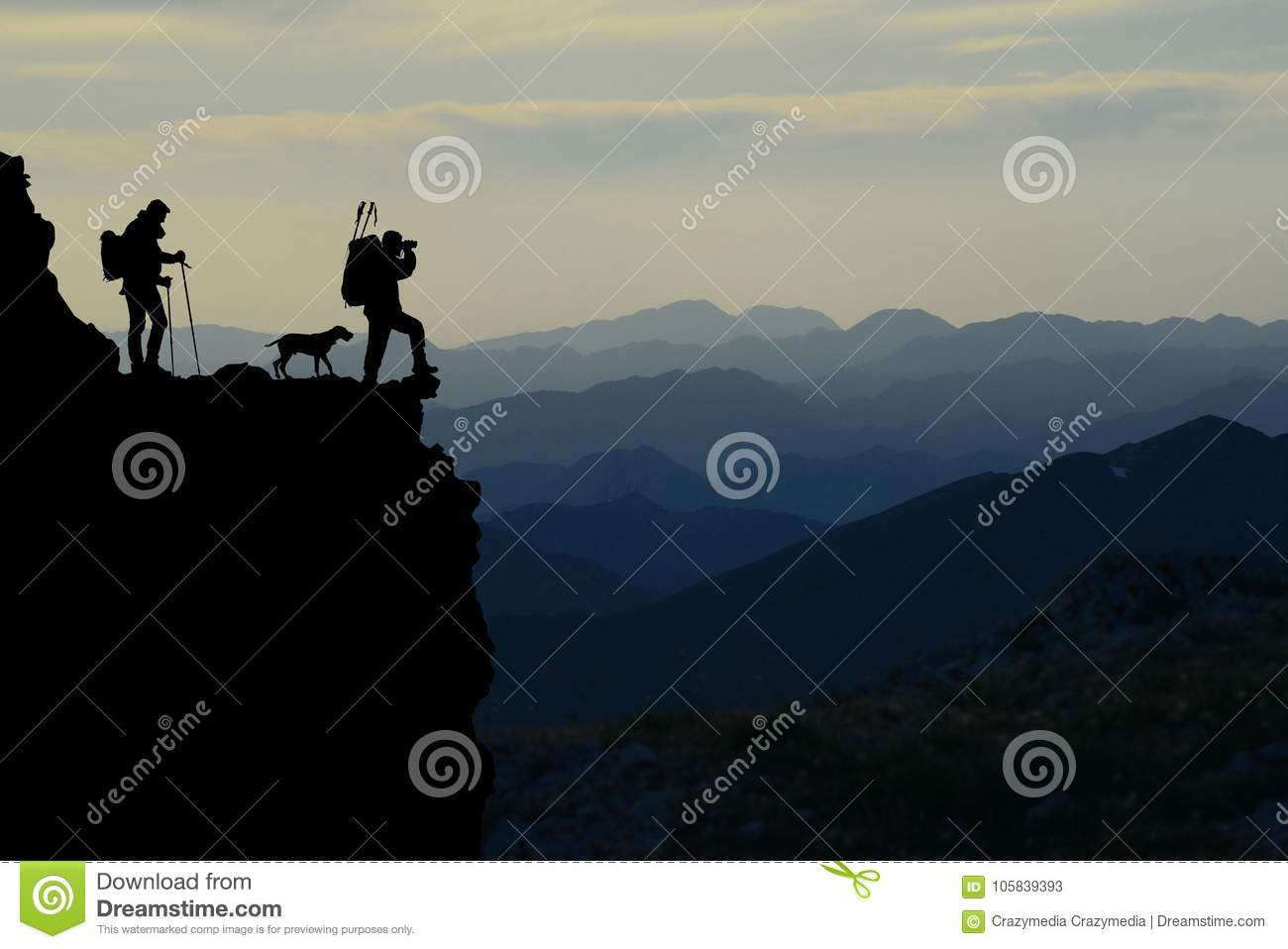 Mountain hikers silhouette