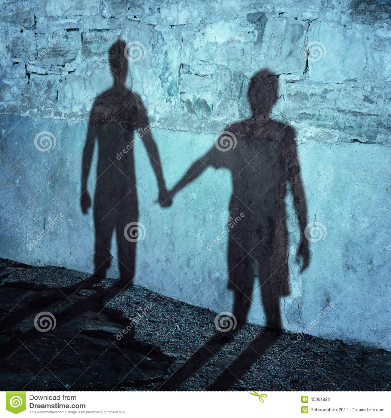 Silhouette Of Two People Holding Hands Stock Photo - Image ...