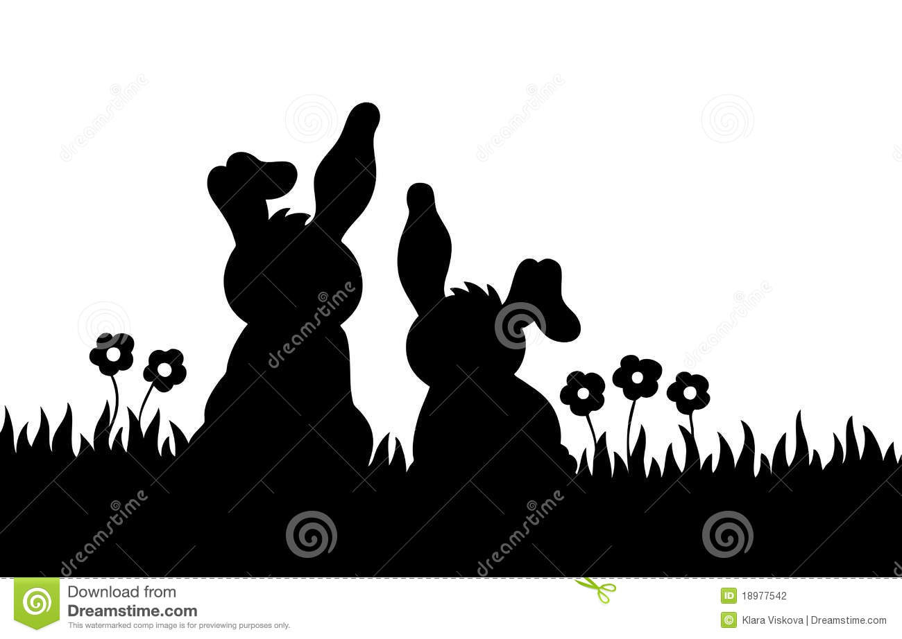 Rabbit Ears Silhouette Silhouette of two rabbits on