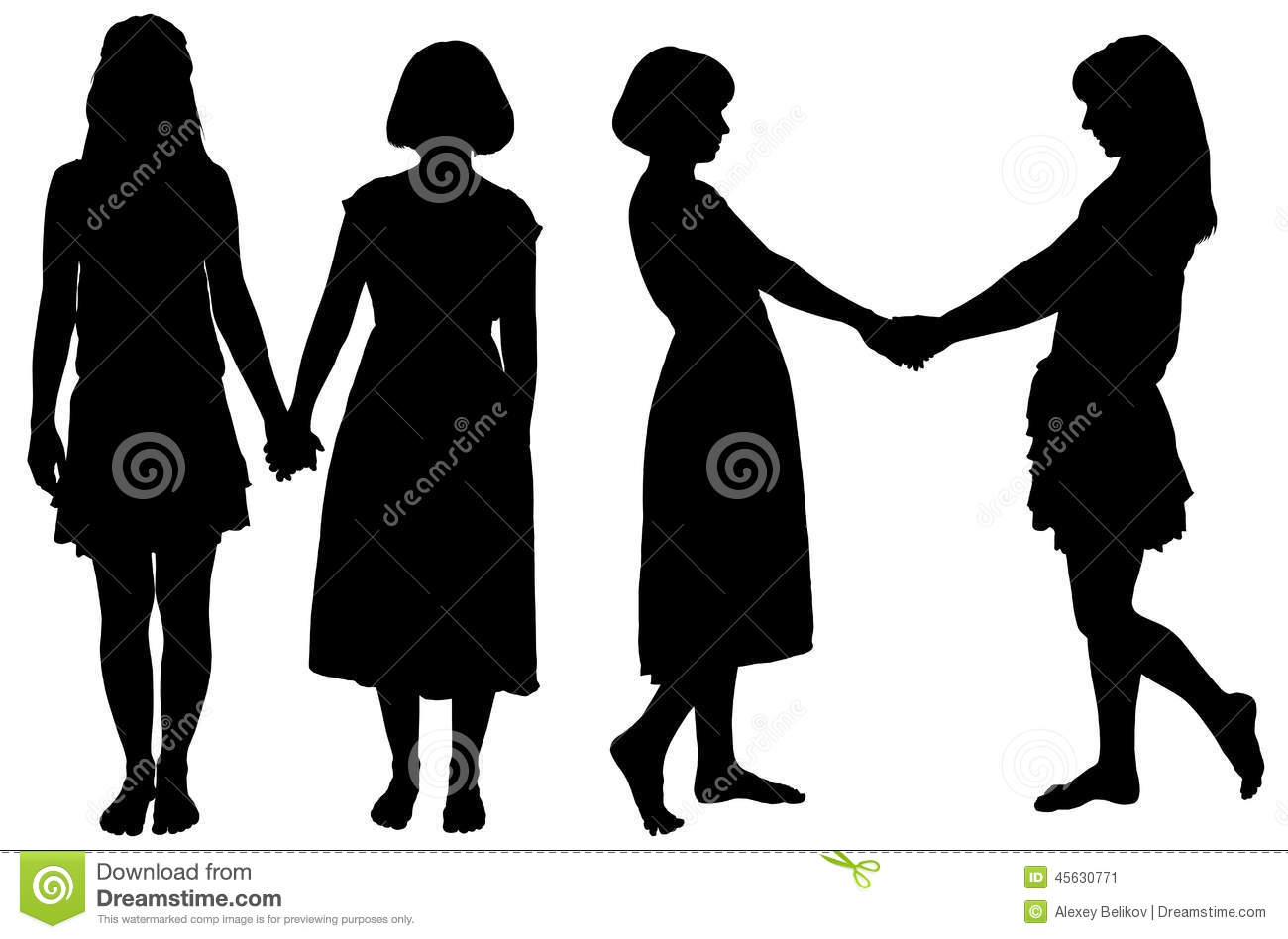 Silhouette Of Two Young Slender Women Stock Vector Image