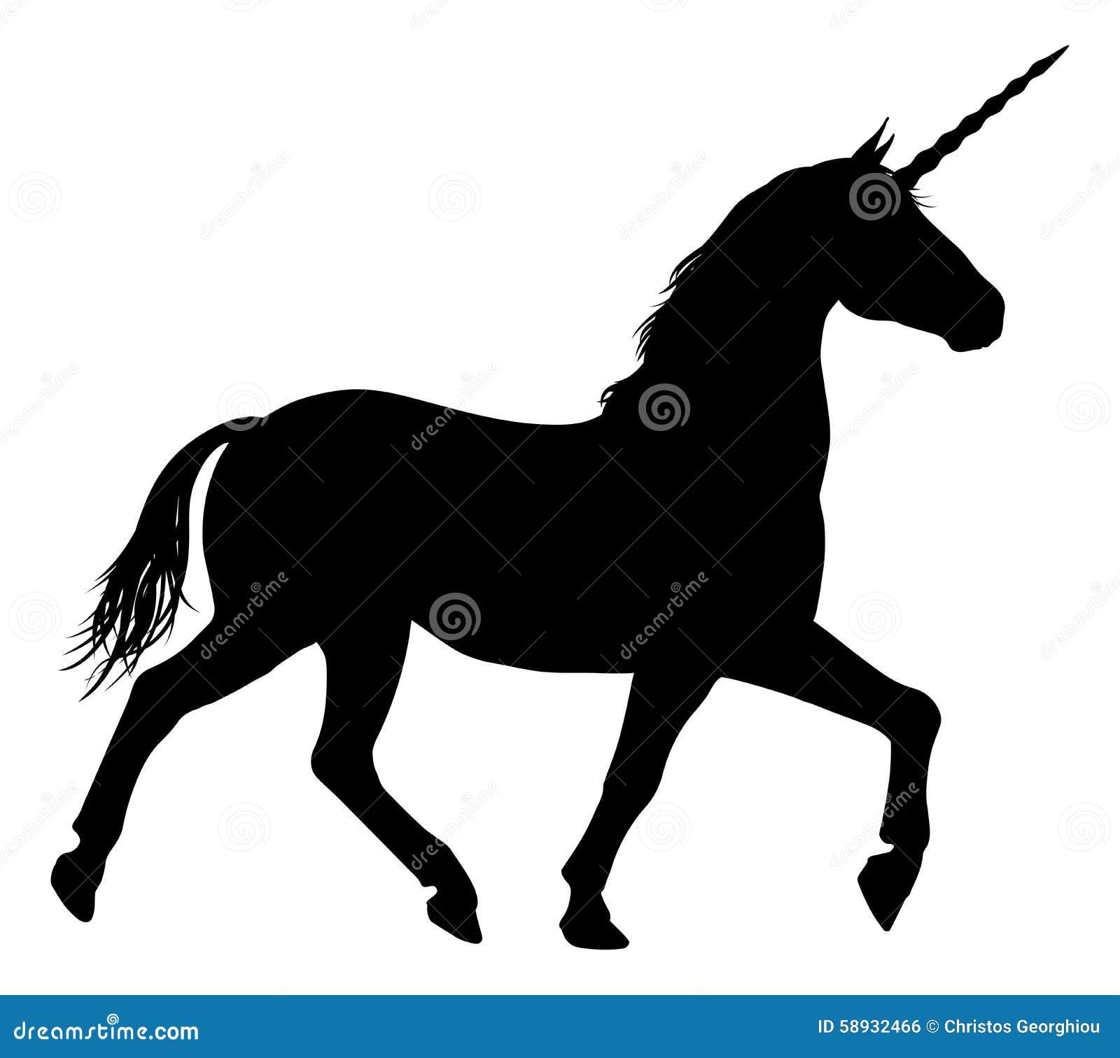Silhouette Of Unicorn Horse Stock Vector Image 58932466