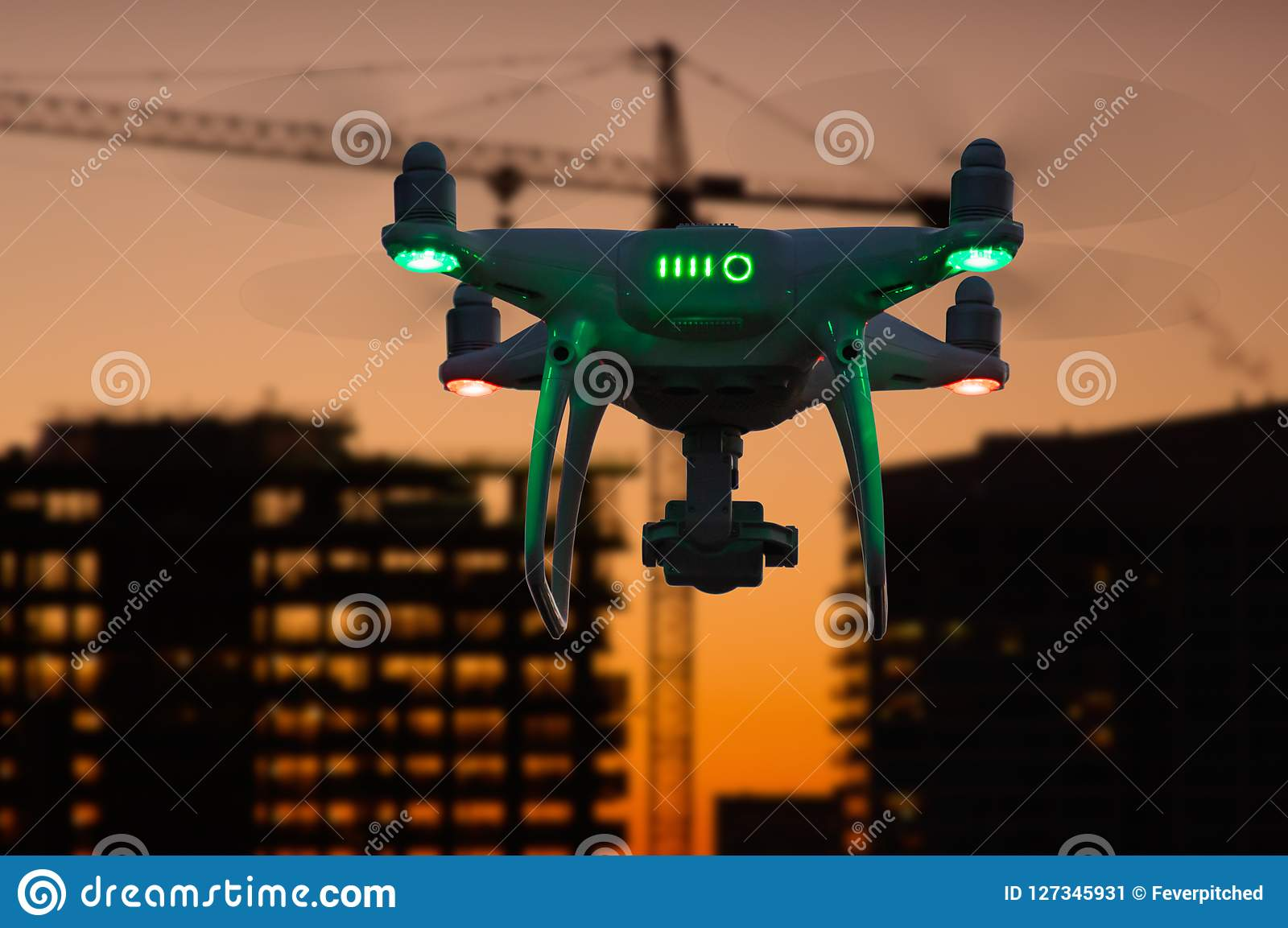 Silhouette of Unmanned Aircraft System UAV Quadcopter Drone