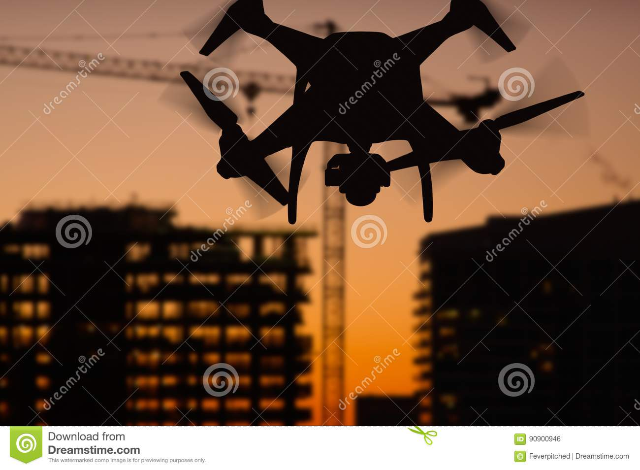 Silhouette of Unmanned Aircraft System UAV Quadcopter Drone In