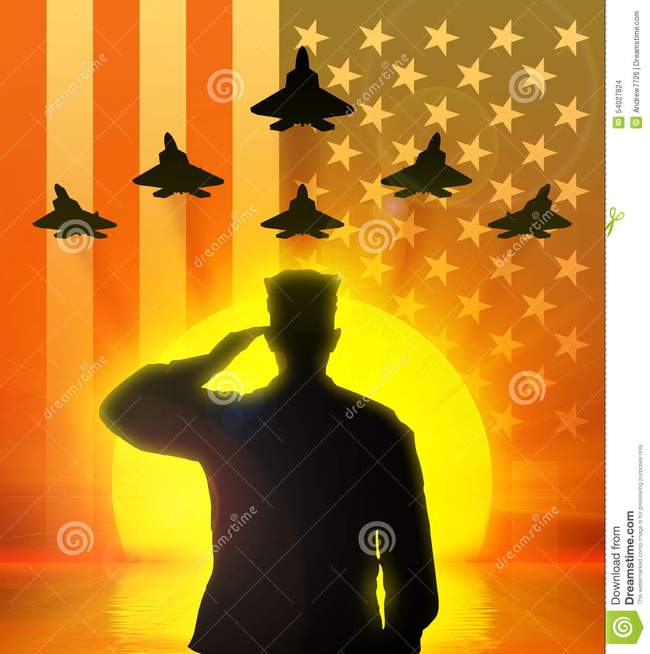 Silhouette of a soldier saluting the US flag on the background and the ... Eagle Silhouette Vector