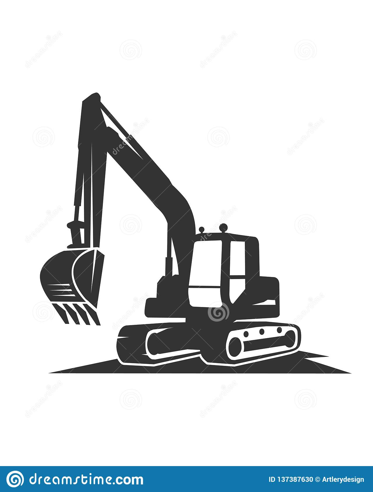 The Silhouette Vector Black Excavator On A White ...