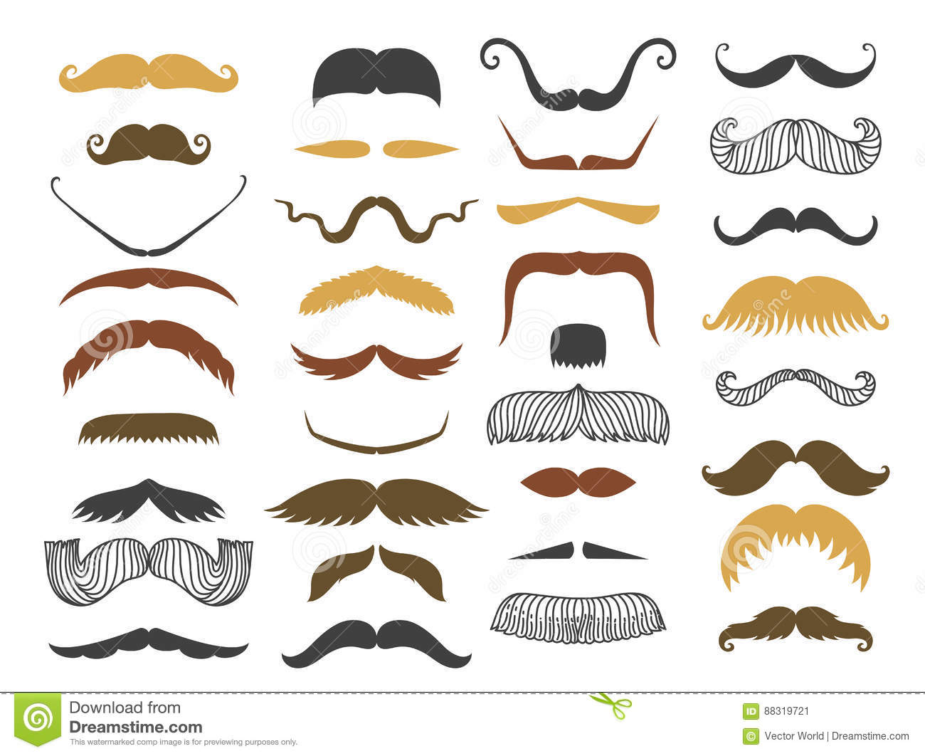 Silhouette Vector Mustache Hair Hipster Curly Collection Beard