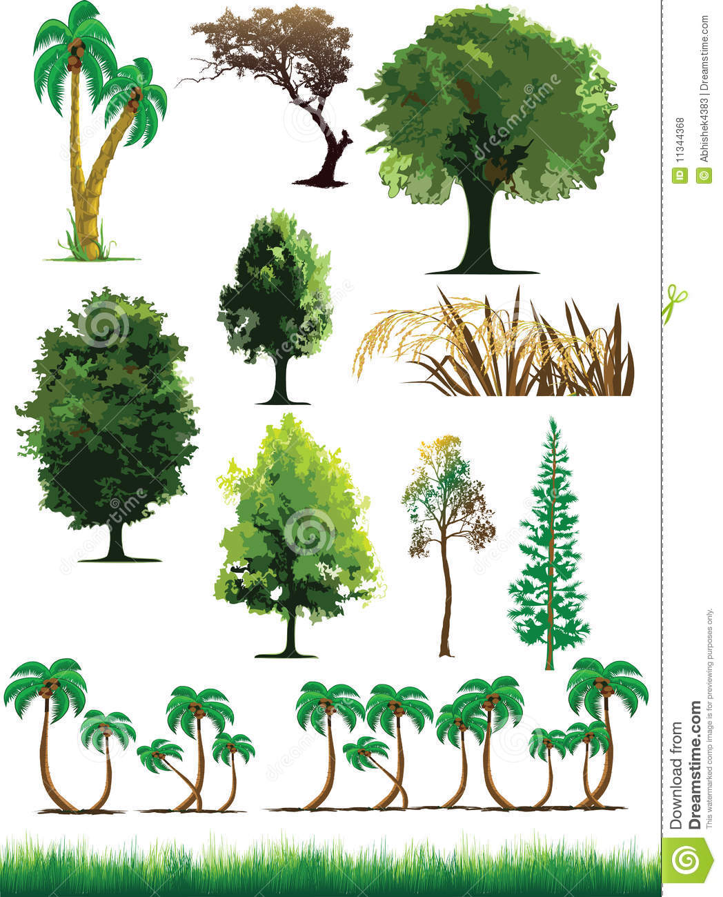 Silhouette view of trees plants grass wildlife royalty for Arbustos de jardin nombres