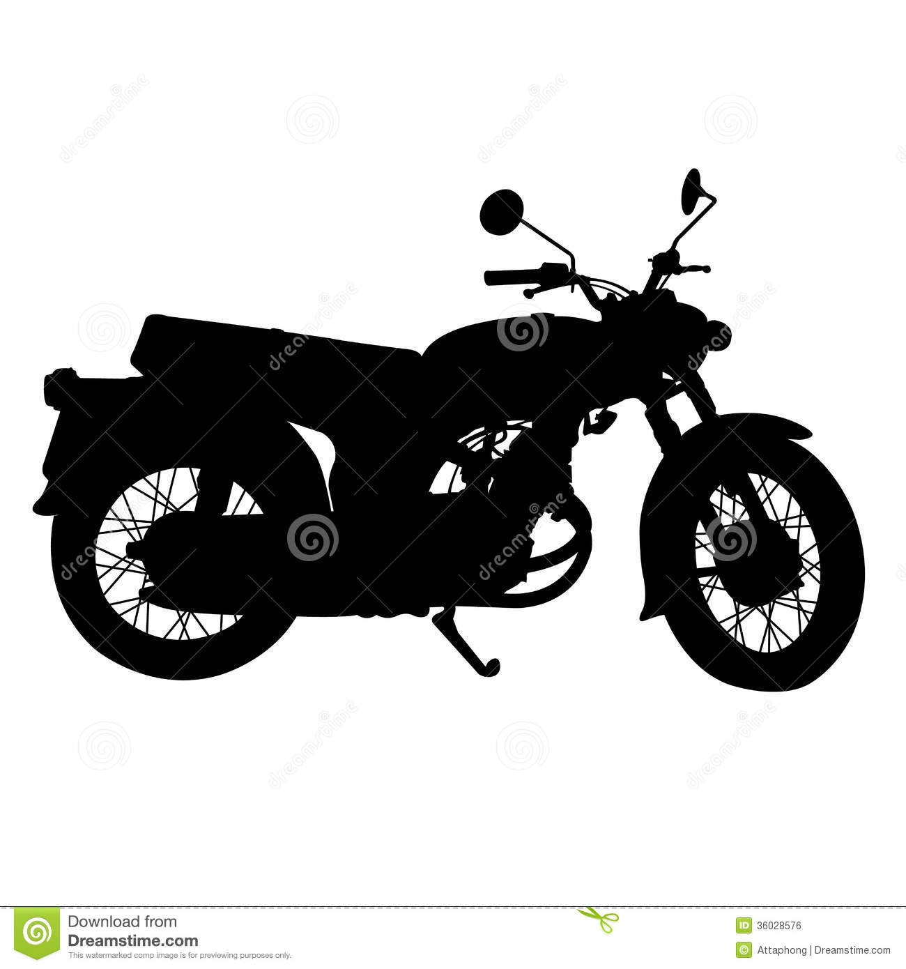 Silhouette Of Vintage Motorcycle Vector Stock Vector ...
