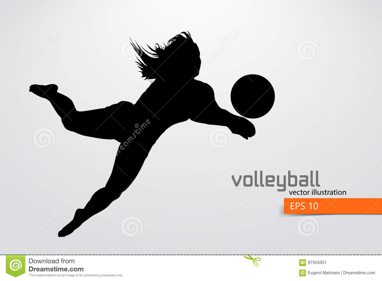 Illustration Abstract Volleyball Player Silhouette: Silhouette Of Volleyball Player. Stock Vector