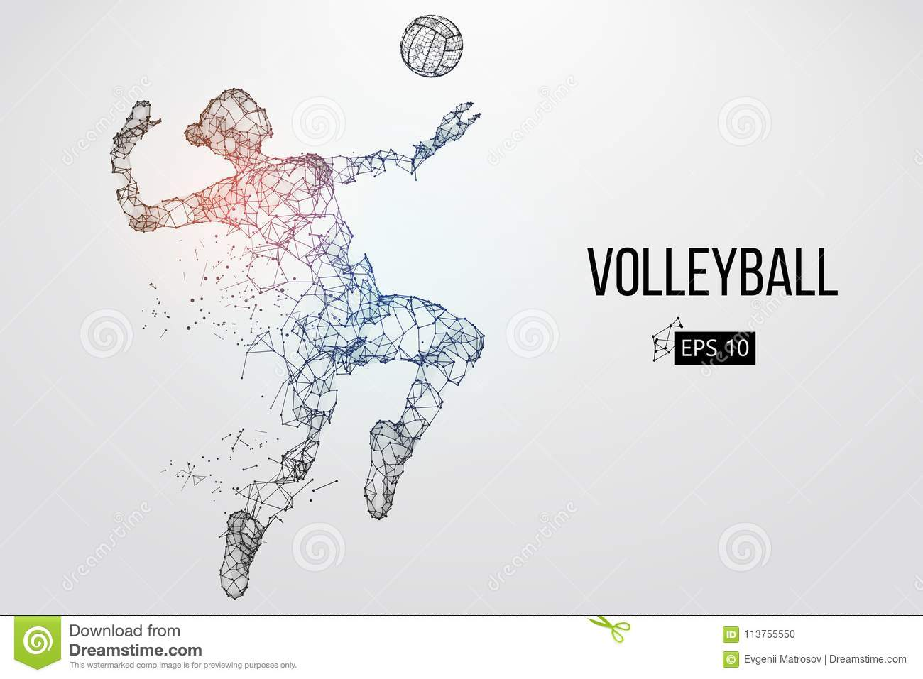 Abstract Triangle Volleyball Player Silhouette Stock: Silhouette Of Volleyball Player. Vector Illustration