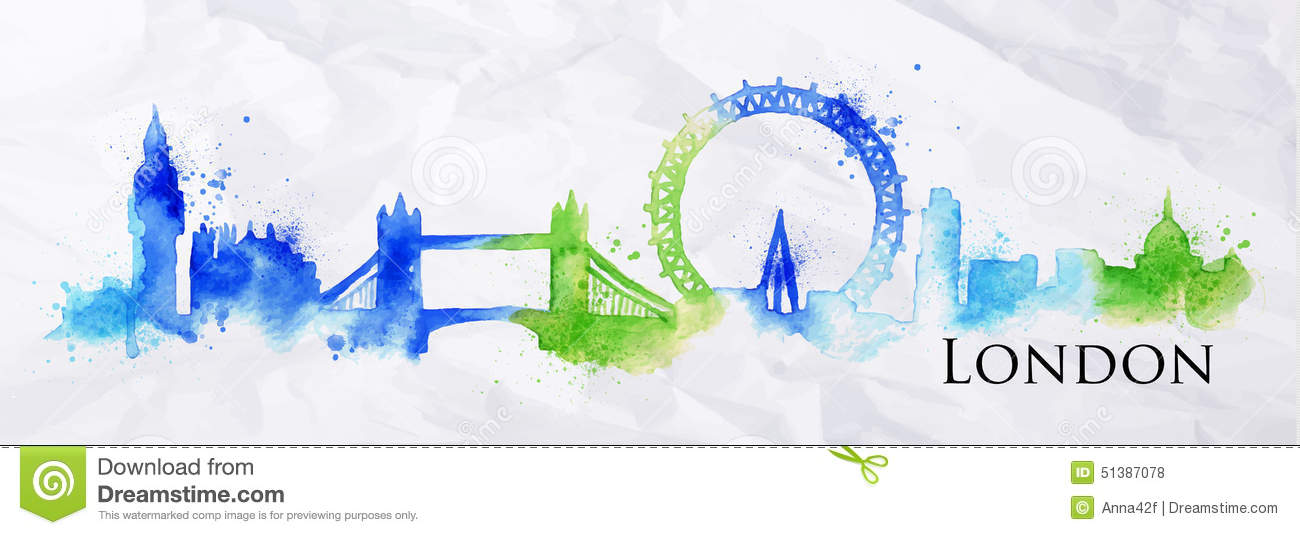 Silhouette Watercolor London Stock Vector Image 51387078