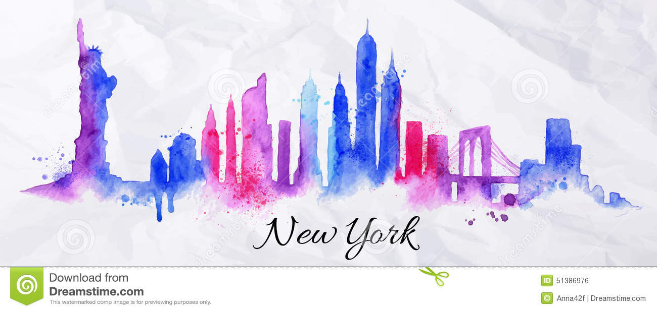 Silhouette Watercolor New York Stock Vector Image 51386976