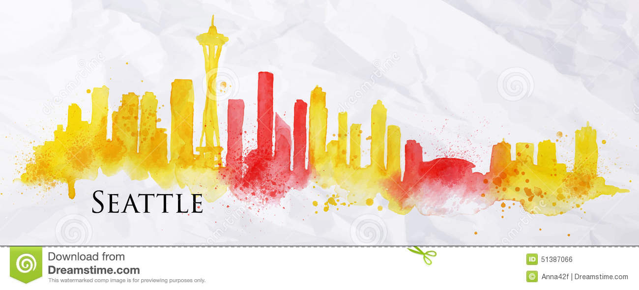 Silhouette Watercolor Seattle Stock Vector Image 51387066