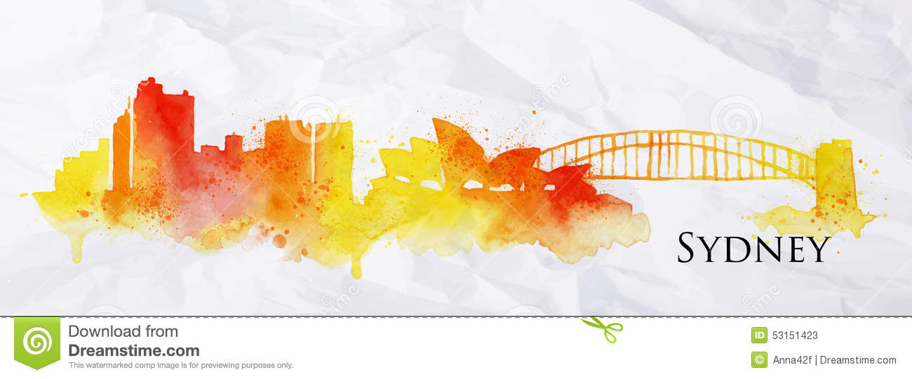 Silhouette Watercolor Sydney Stock Vector Image 53151423