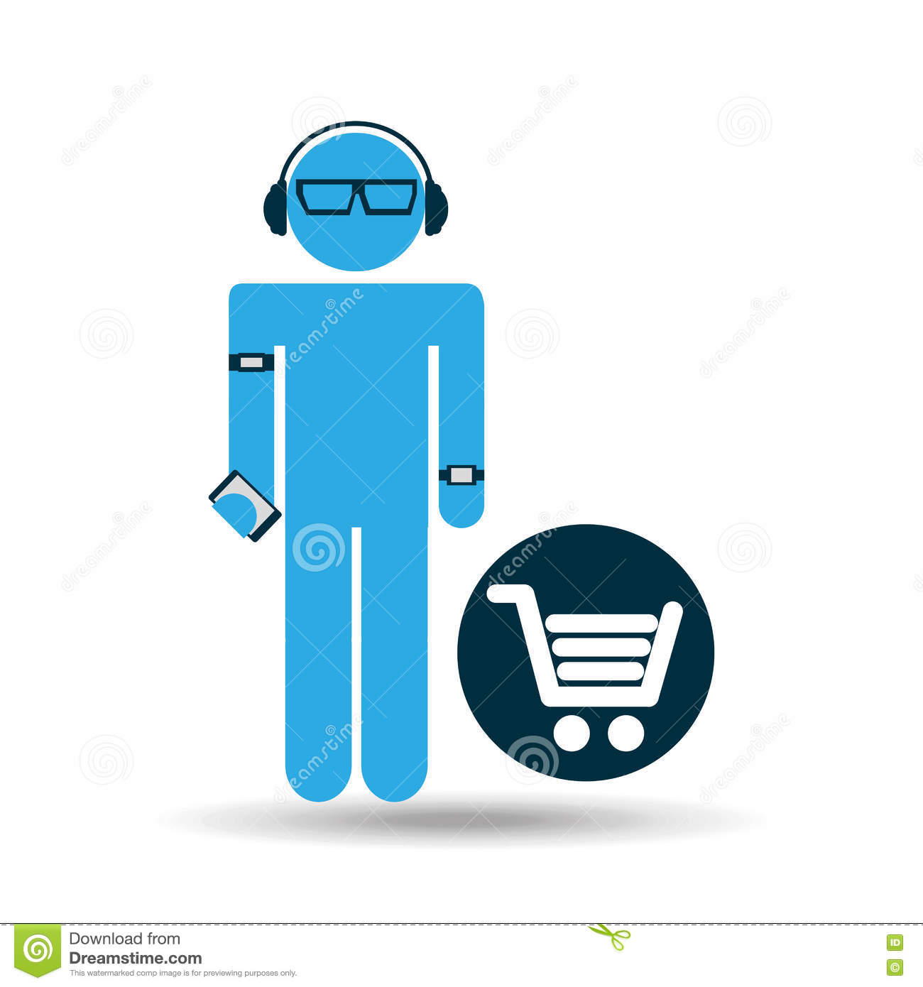 silhouette wearable technology shopping stock vector illustration