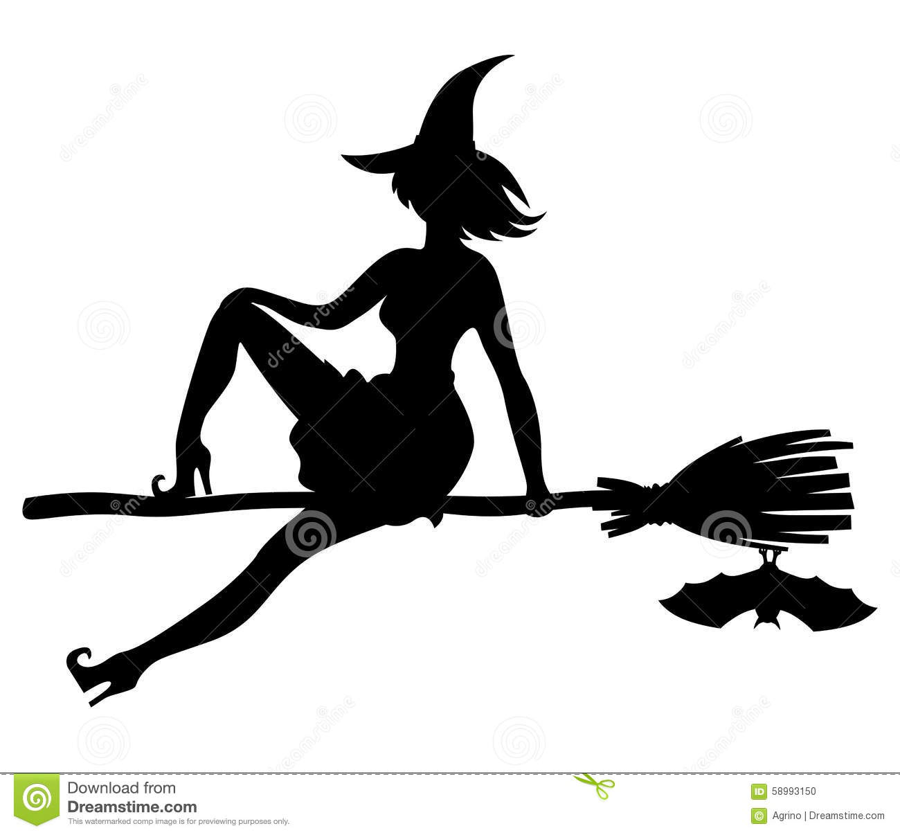 silhouette witch flying on broom and bat stock vector illustration