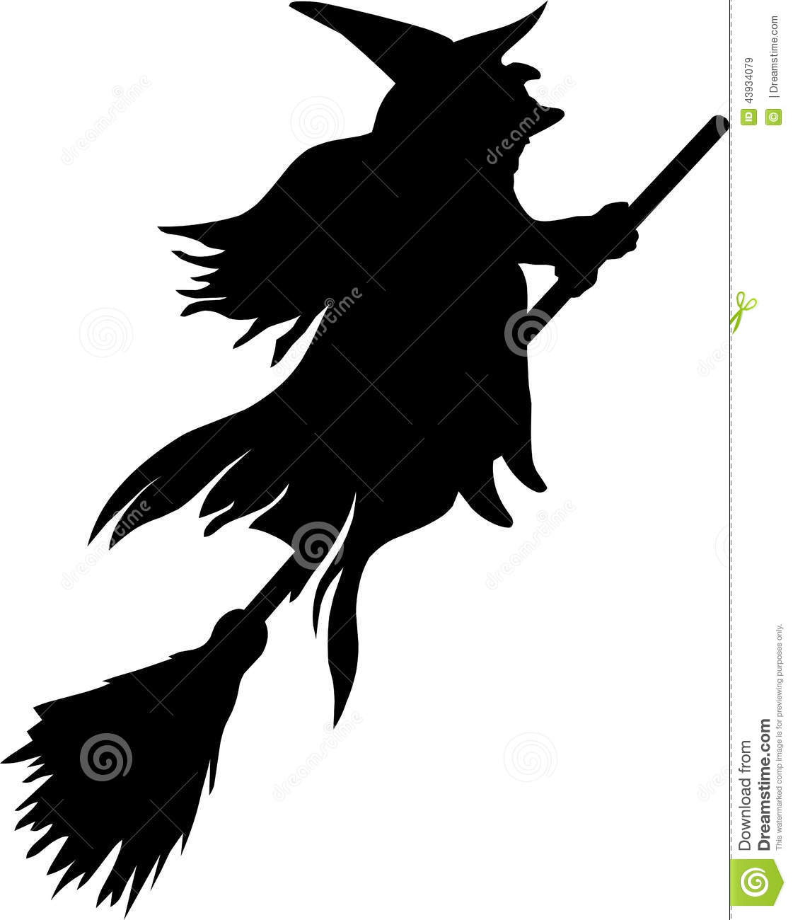 silhouette of witch flying on broom stock vector illustration of
