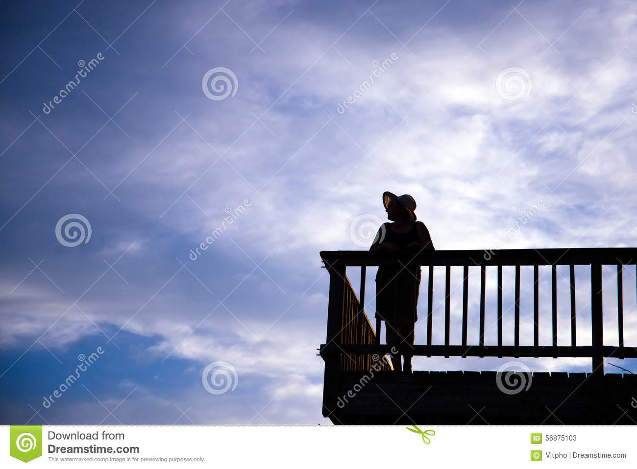 Silhouette of woman awesome shape in hat standing on balcony on