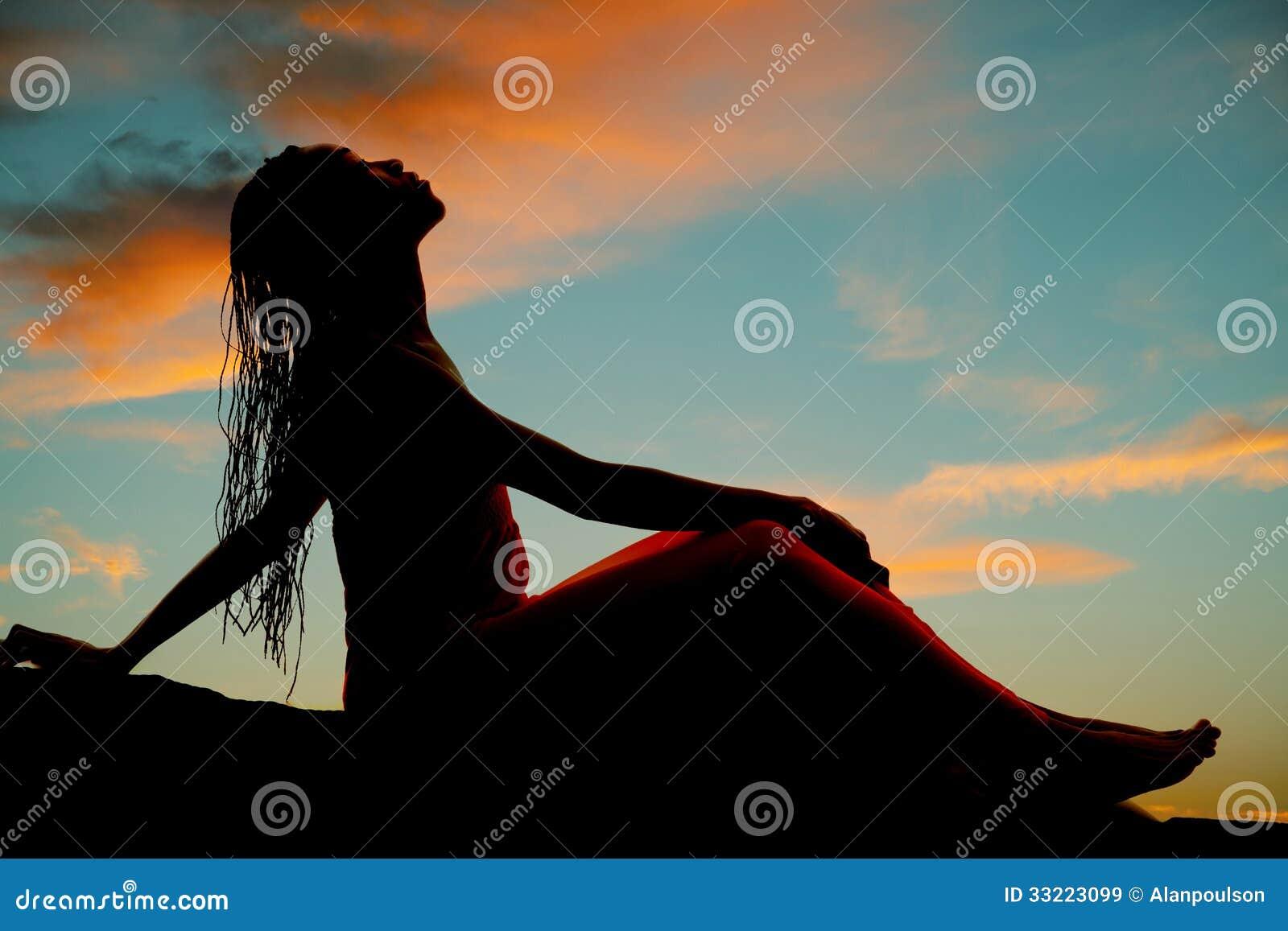 Silhouette Woman Braids Sit Head Back Royalty Free Stock