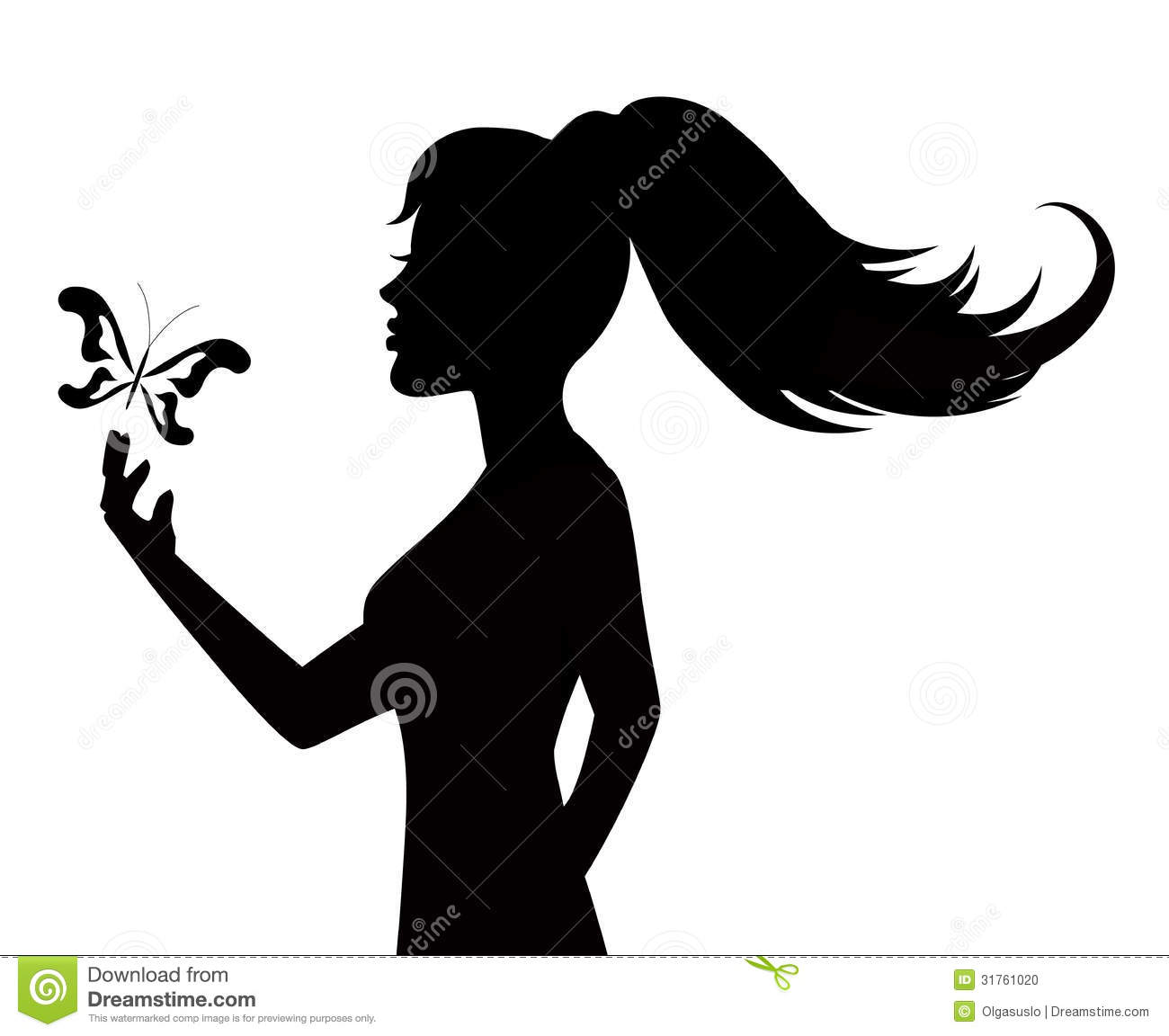 Silhouette Of A Woman And Butterfly Stock Photo Image
