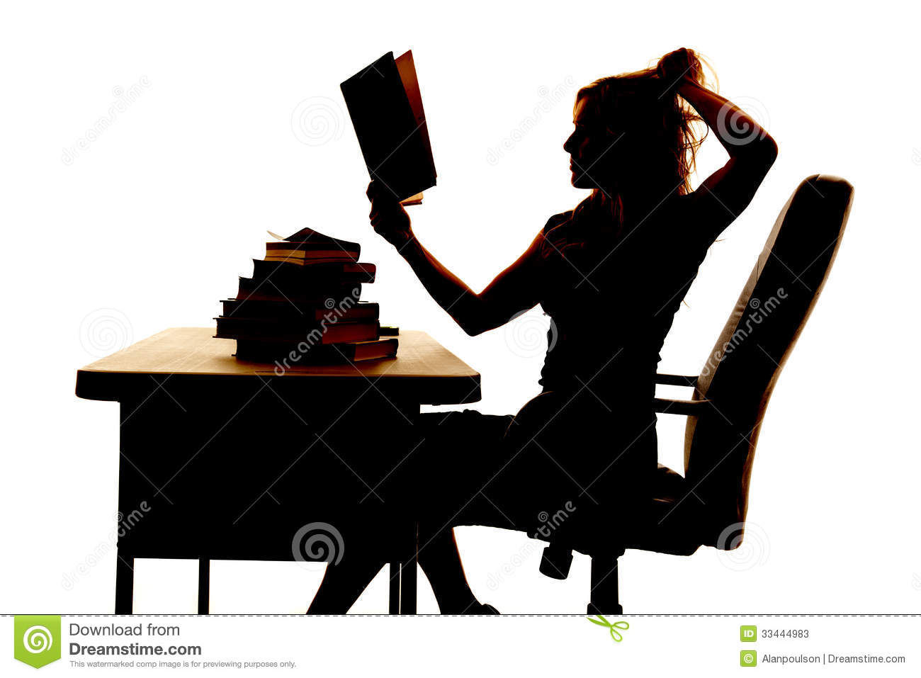 Silhouette Woman At Desk Book Pull Hair Stock Photos ...