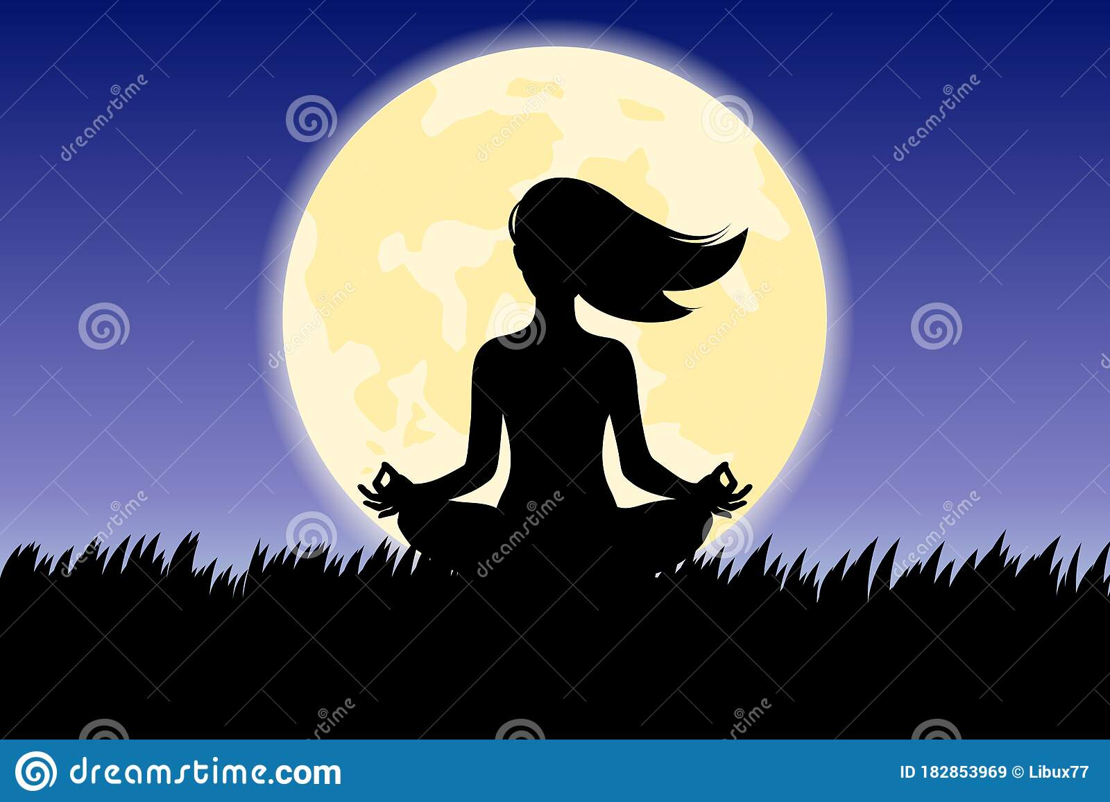 Silhouette Of Woman Doing Yoga Lotus Pose Outdoor In Front Of Full Moon Vector Stock Vector Illustration Of Evening Fitness 182853969