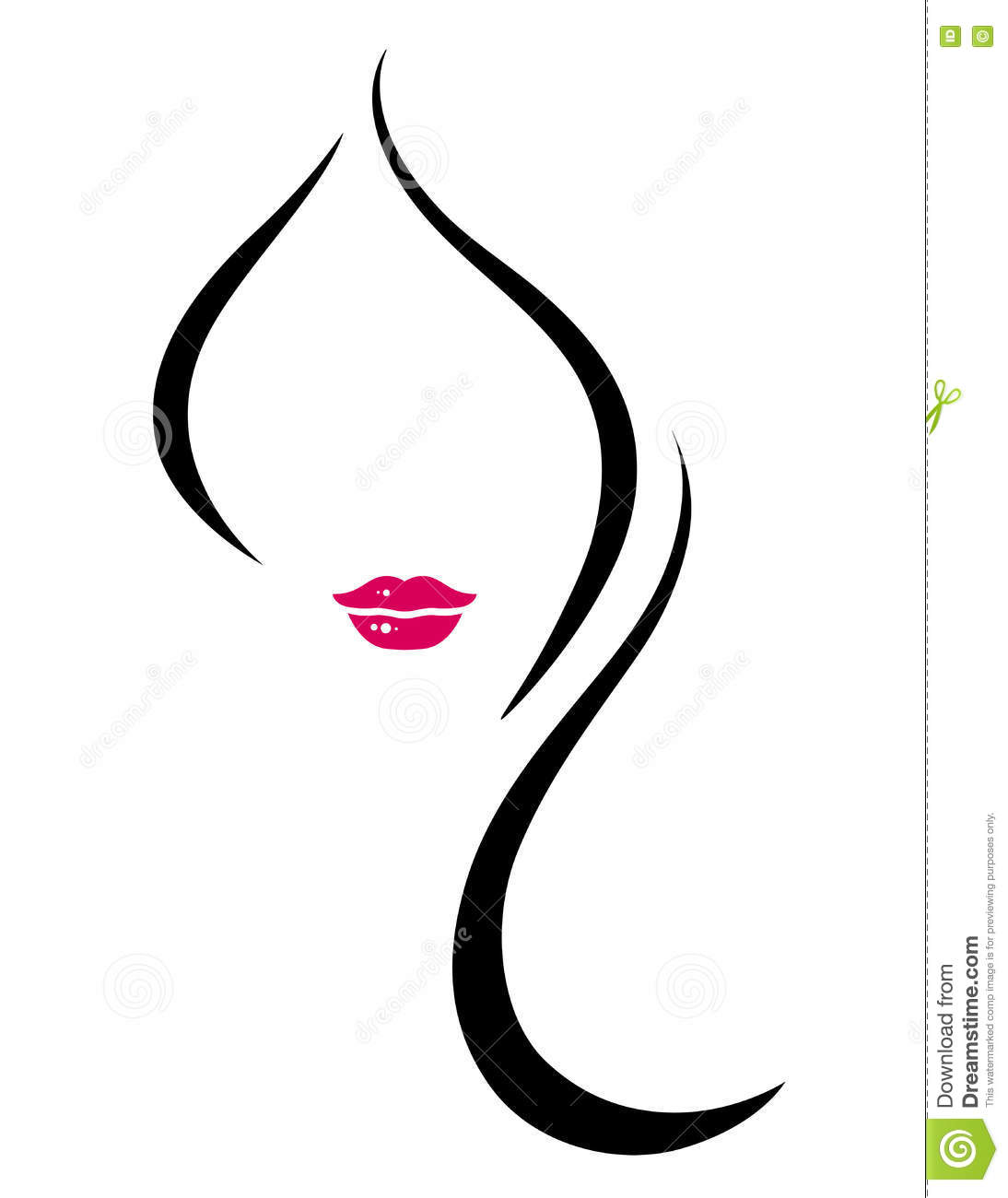 Silhouette Of Woman Face With Long Hair Stock Vector