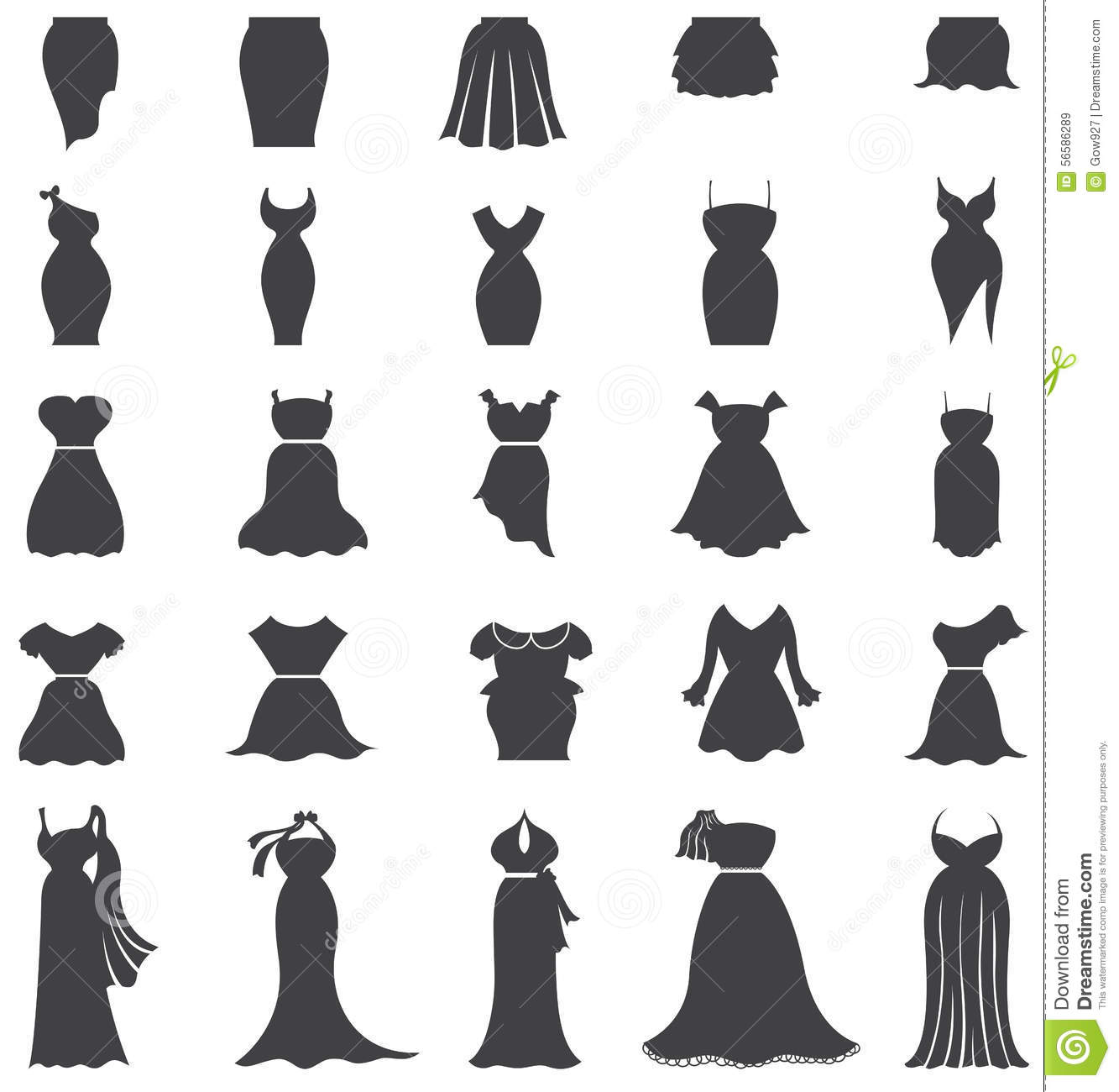 Silhouette Woman Fashion Clothes And Dress Icon Set
