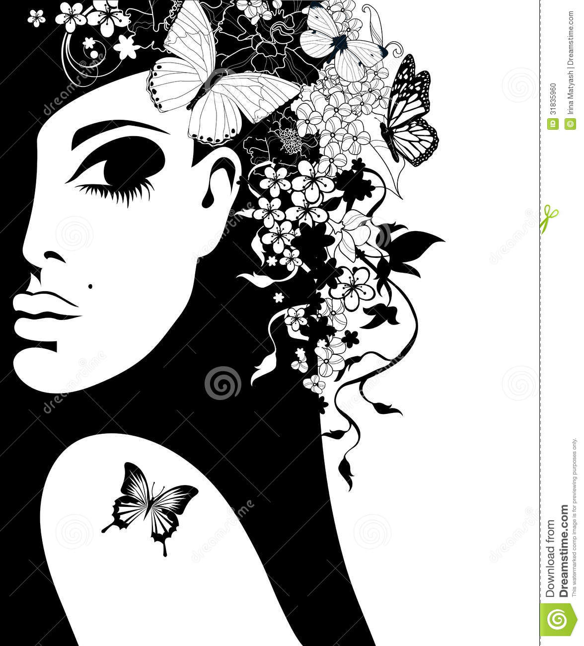 Silhouette Of A Woman With Flowers And Butterflies Stock
