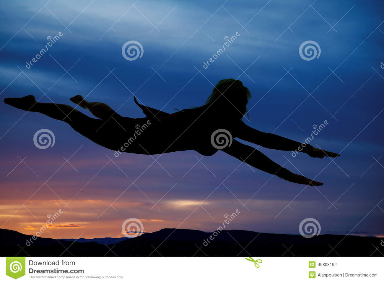 Silhouette Of Woman Flying Cape On Stock Photo - Image ...