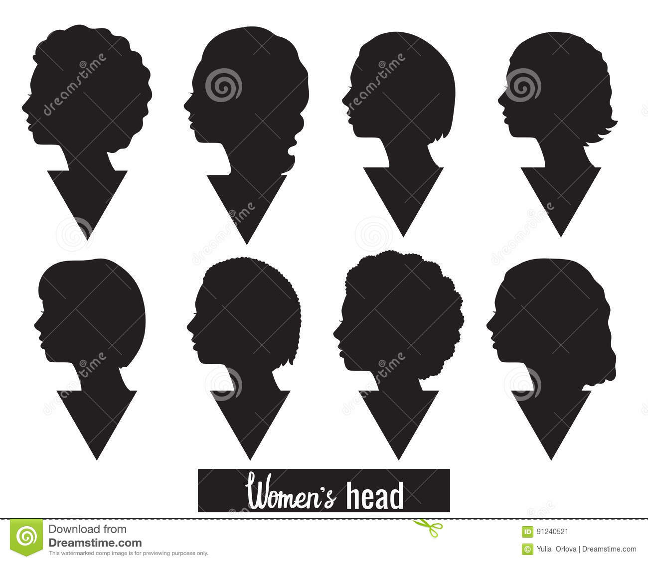 silhouette of woman head stock vector illustration of modern 91240521