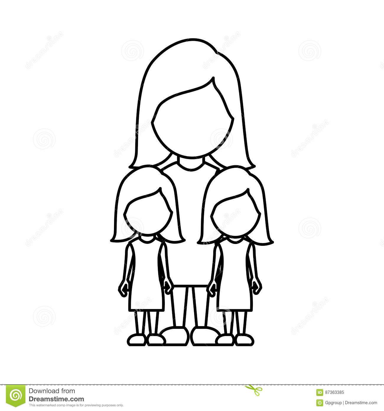 Silhouette Woman Her Girls Twins Icon Stock Illustration
