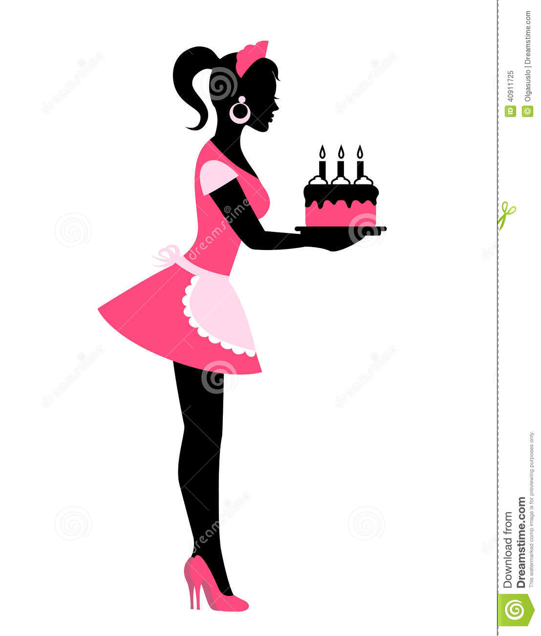 Silhouette Of A Woman Holding A Cake With Candles Stock Vector ...