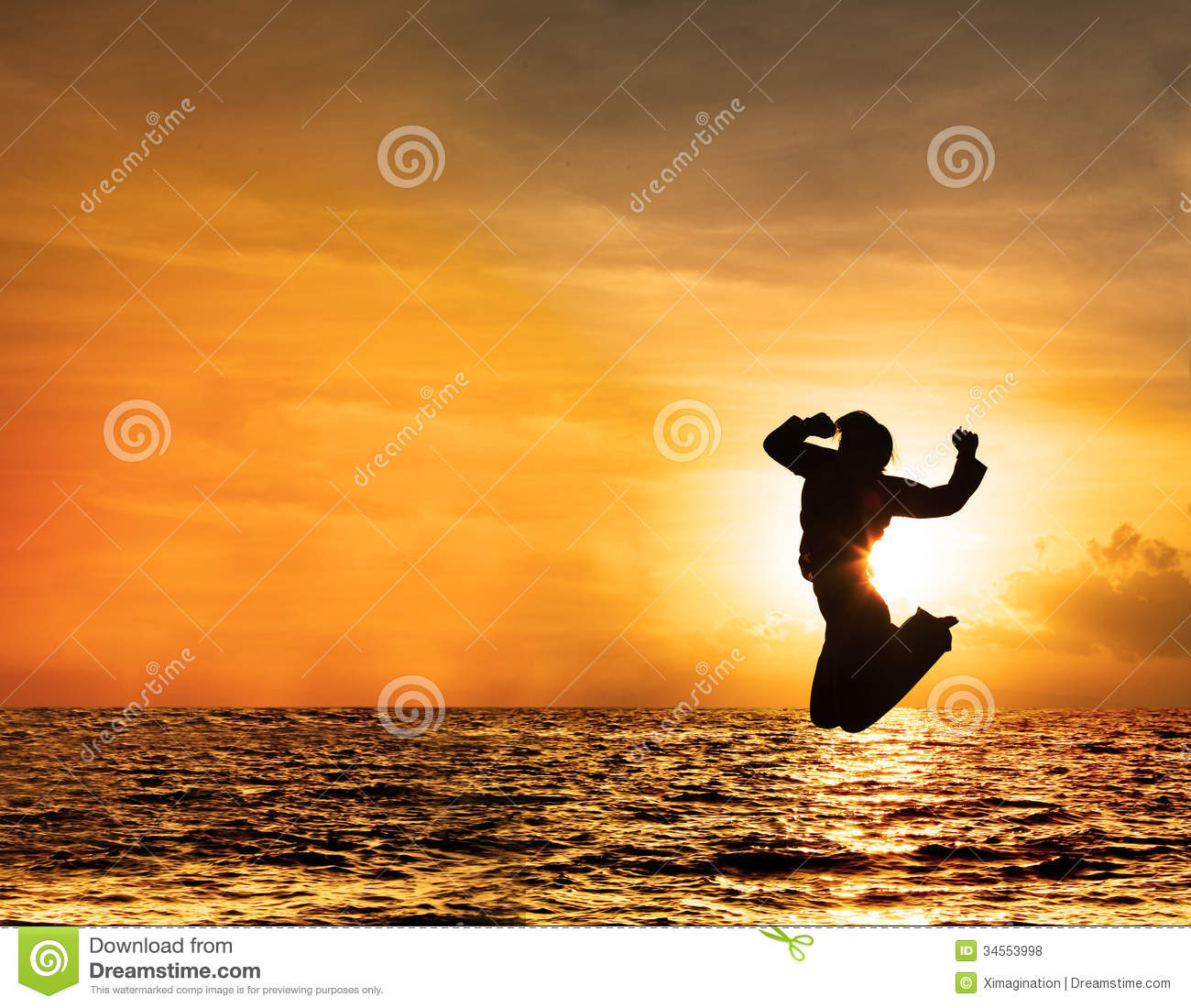 Beautiful Woman Face Over Beach Sunset Stock Image: Silhouette Of Woman Jumping At Sunset Stock Photo