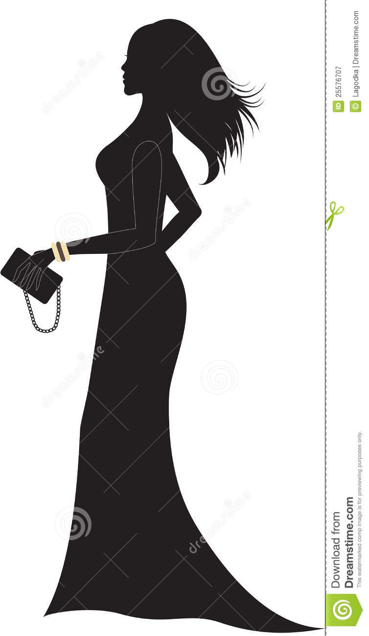Silhouette Of Woman In Long Dress. Royalty Free Stock ...