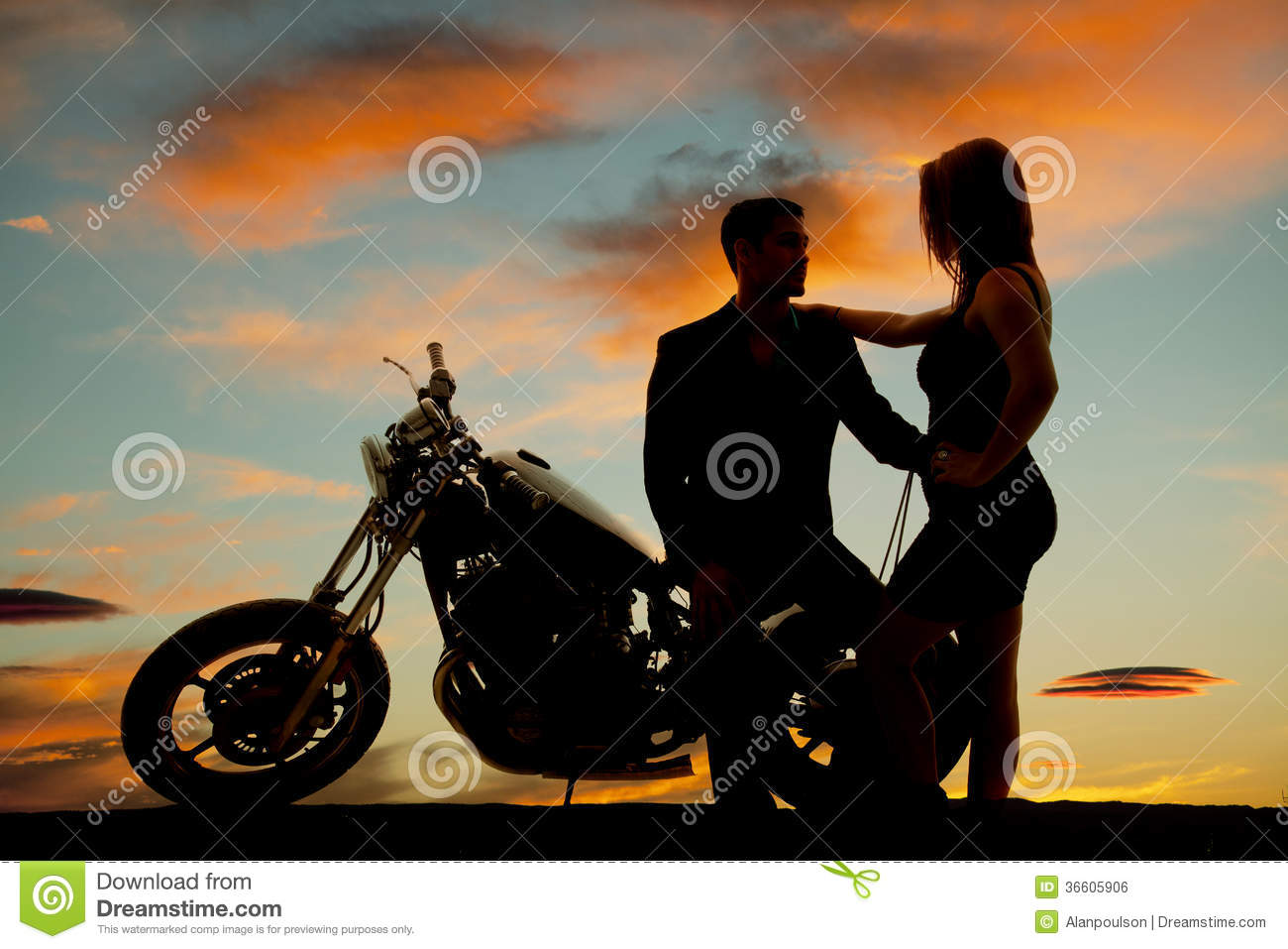 Silhouette Of Woman By Man On Motorcycle Royalty Free -2640