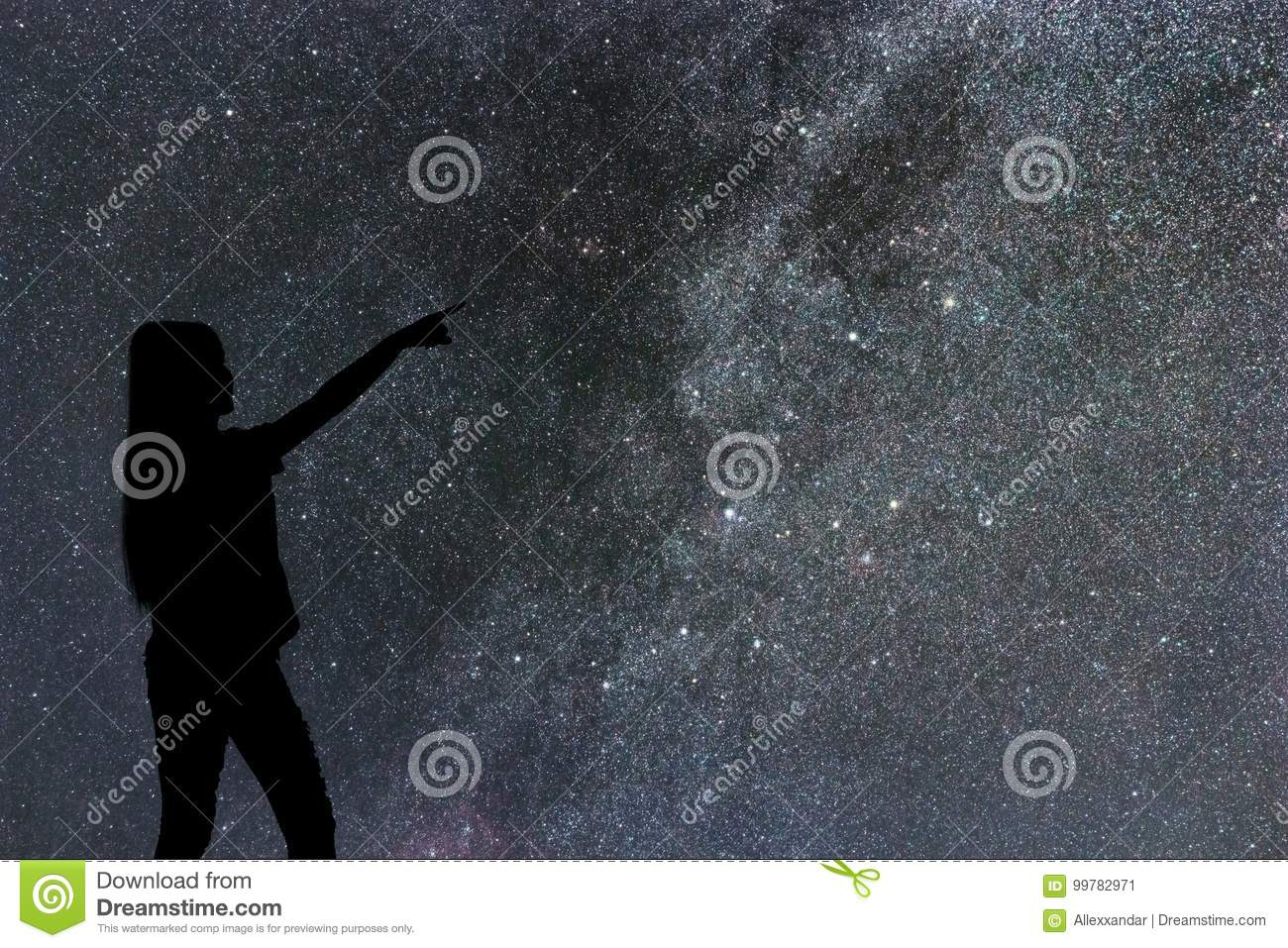 Silhouette of woman stand alone in the night milky way and stars