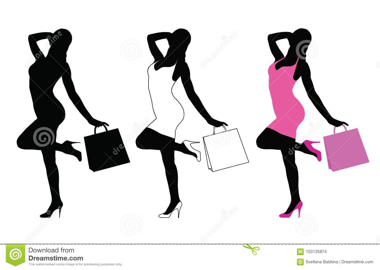 Silhouette Of Woman Standing With Shopping Bag  Stock Vector