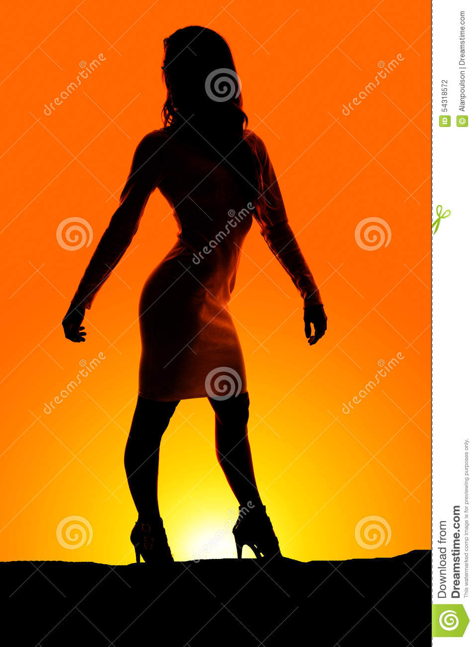 ... Dress silhouette of a woman standing in a white dress look to side