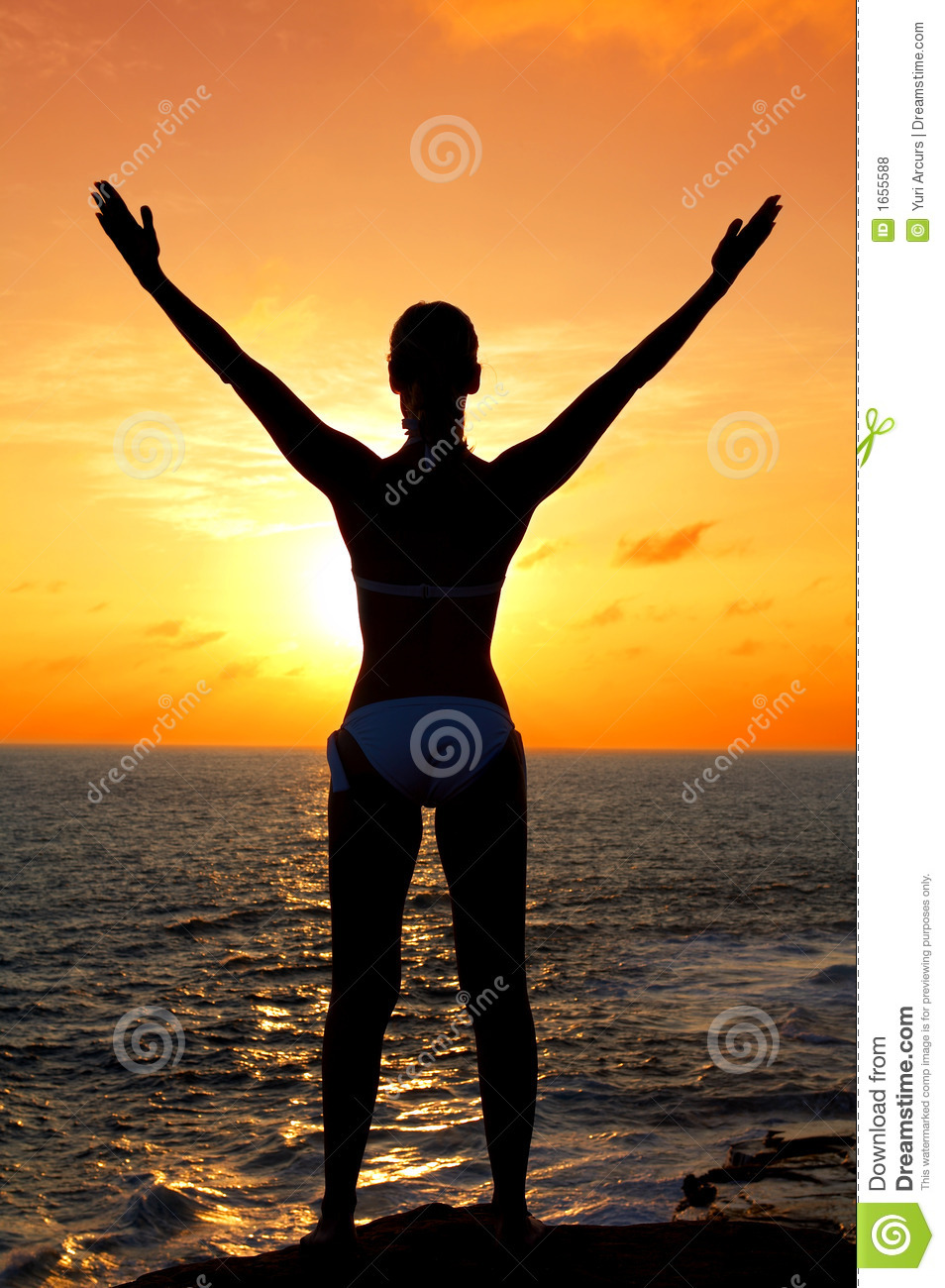 Royalty Free Stock Photos: Silhouette of woman at sunset ...