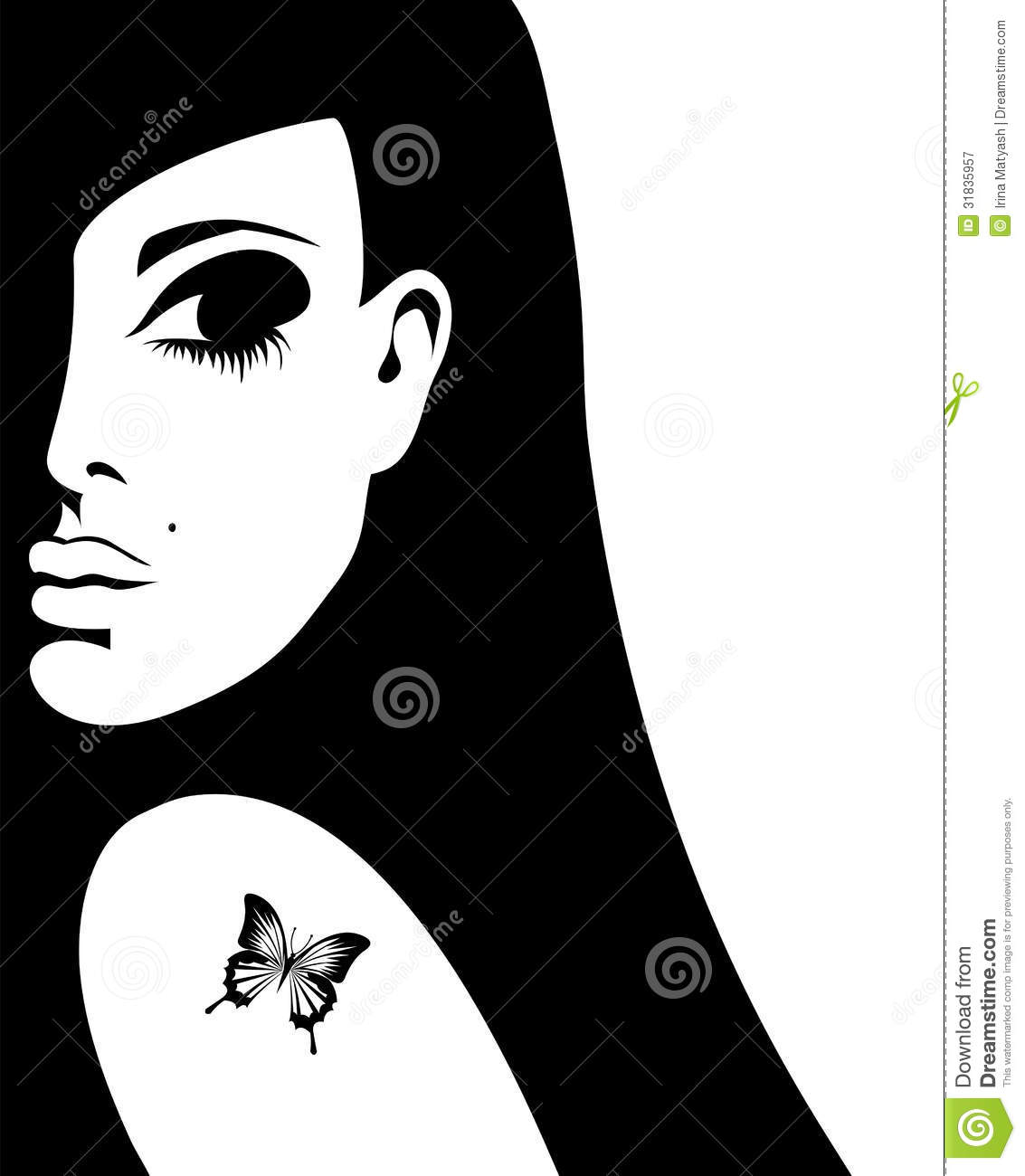 Silhouette of a woman with a tattoo of a butterfly royalty for Female silhouette tattoo