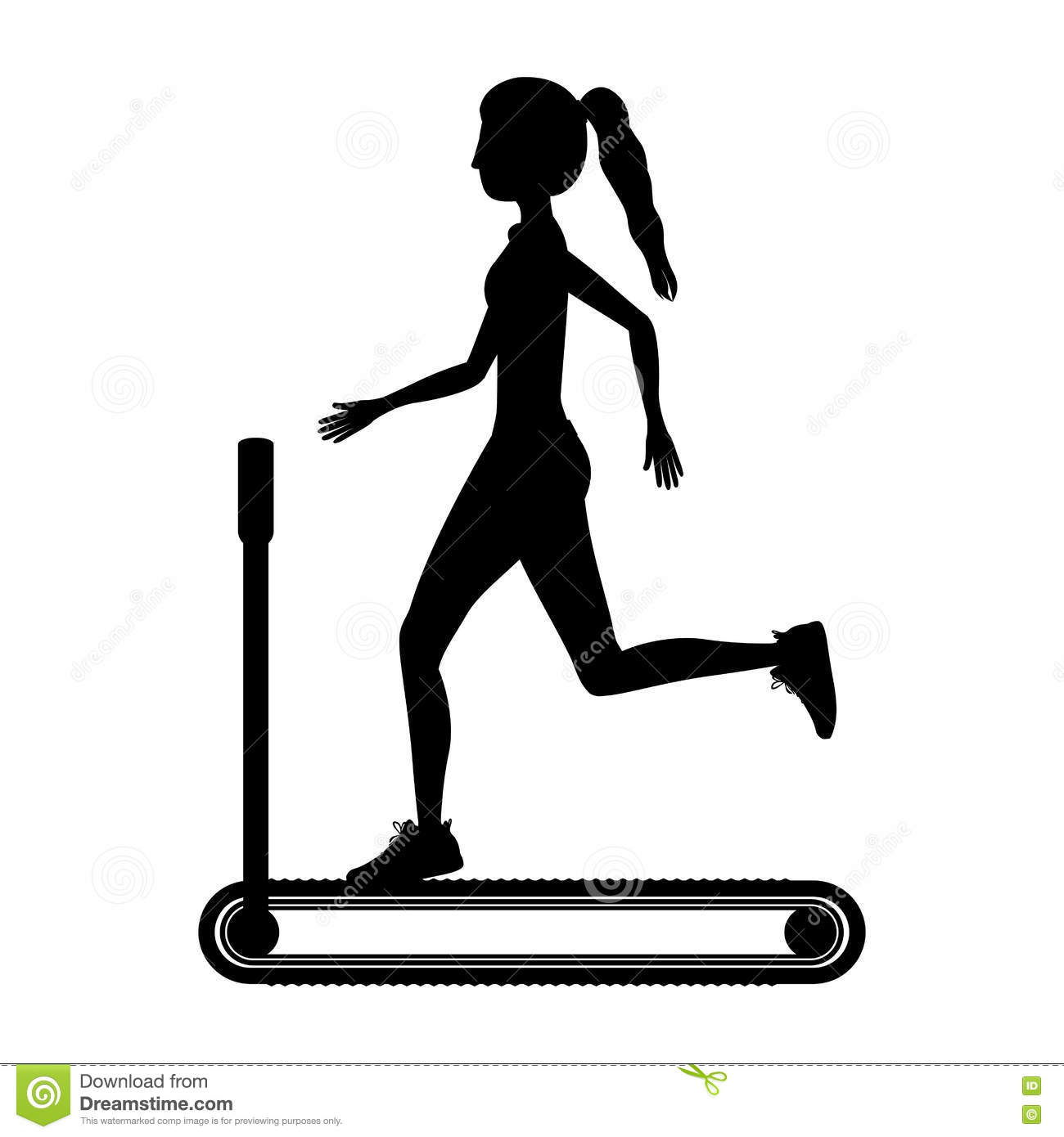 Silhouette with woman in treadmill