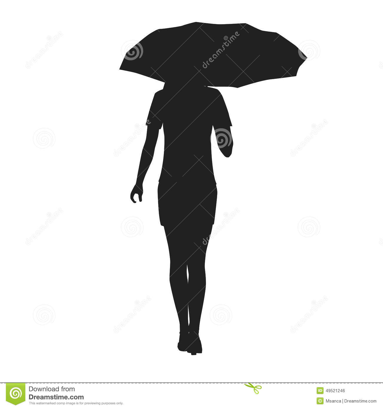 Silhouette Of A Woman With Umbrella Stock Vector - Image ...  Silhouette Of A...